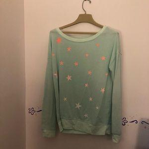 Baby blue star pink ombré sweatshirt